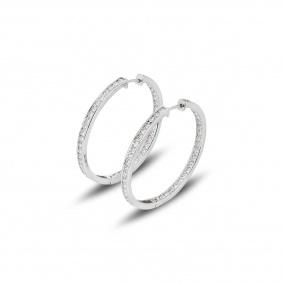 18k White Gold Diamond Set Hoop Earrings 2.59ct G/VS1